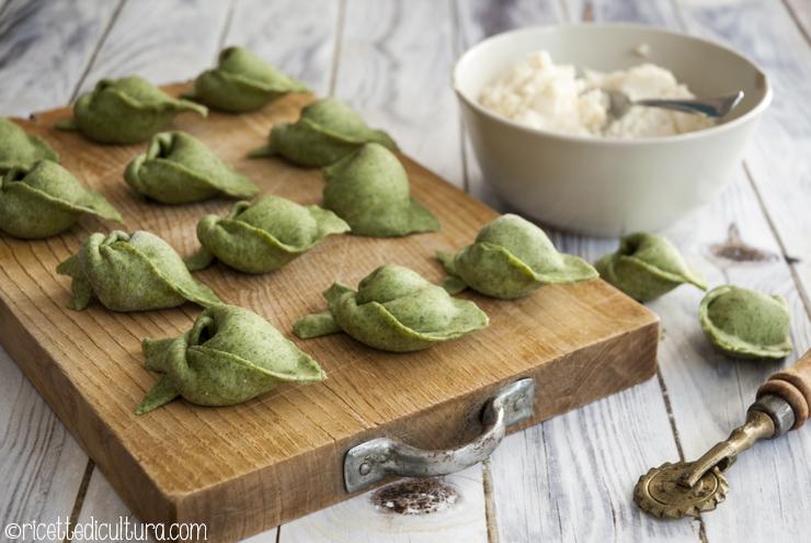 Tortelloni verdi di stoccafisso e patate