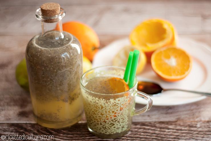 Chia fresca agli agrumi e zenzero, bevanda detox Per reidratarsi dopo le bevute delle Feste, con vitamine e fibre utilissime