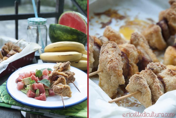 spiedini tropicali pollo e banana